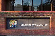 The sign to Folkestone Magistrates Court on 30th January 2018 in Folkestone, United Kingdom.