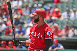 May 9, 2018 - Arlington, TX, U.S. - ARLINGTON, TX - MAY 09: Texas Rangers right fielder Nomar Mazara (30) stands at the plate during the game between the Detroit Tigers and the Texas Rangers on May 9, 2018 at Globe Life Park in Arlington, TX. (Photo by George Walker/Icon Sportswire) (Credit Image: © George Walker/Icon SMI via ZUMA Press)