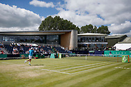 Go Soeda of Japan plays a forehand during the Men's Singles Quarter Final at the Fuzion 100 Ilkley Lawn Tennis Trophy Tournament held at Ilkley Lawn Tennis and Squad Club, Ilkley, United Kingdom on 19 June 2019.
