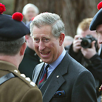 HRH Prince Charles visit to Balhousie Castle, Perth Regimental HQ of the Black Watch..<br /> Prince Charles shares a joke with Captain Alex Brown.<br /> Picture by Graeme Hart.<br /> Copyright Perthshire Picture Agency