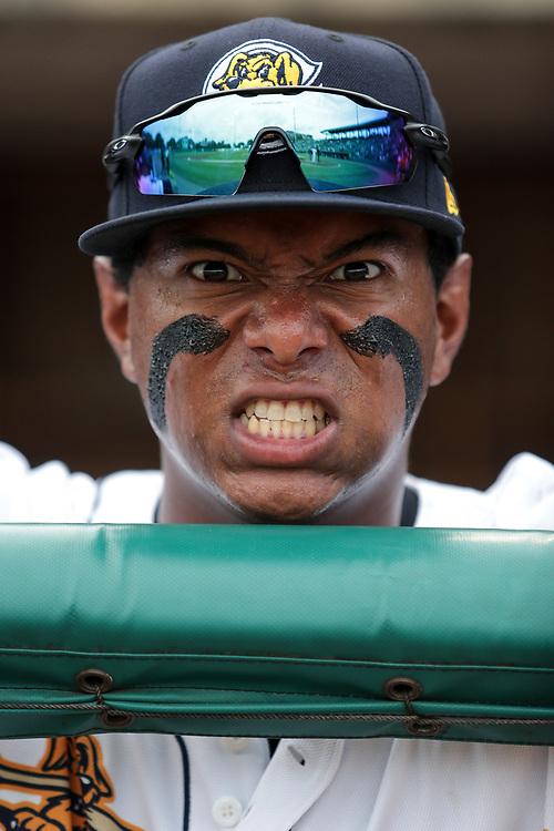 Charleston RiverDogs' infielder Daniel Barrios (24) <br /> Greenville Drive vs. Charleston RiverDogs at Joseph P. Riley Ballpark in Charleston, S.C. on Saturday, June 16, 2018.<br /> Zach Bland/Charleston RiverDogs