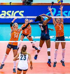 15-10-2018 JPN: World Championship Volleyball Women day 16, Nagoya<br /> Netherlands - USA 3-2 / Laura Dijkema #14 of Netherlands, Yvon Belien #3 of Netherlands, Foluke Akinradewo #16 of USA