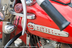 A 1949 Harley-Davidson EL Panhead from Carl's Cycle as featured in HOG magazine with a 2018 Harley-Davidson Heritage Classic with it's Milwaukee-8 engine in the new Softail frame. Aberdeen, SD. USA. Sunday October 8, 2017. Photography ©2017 Michael Lichter.