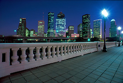 Houston, Texas skyline from the Sabine Street Bridge at night.