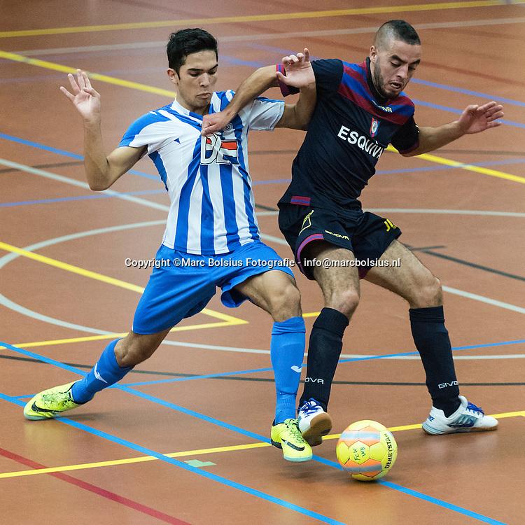Nederland,  Den Bosch, zaalvoetbalwedstrijd tussen de De Hommel en Fc Eindhoven. foto van Eindhoven Dennis van den Eijnden met nummer 11