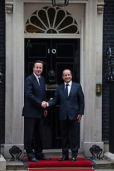 © licensed to London News Pictures. London, UK 10/07/2012. Francois Hollande visits David Cameron in Downing Street, this afternoon. Photo credit: Tolga Akmen/LNP