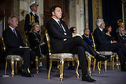 Matteo Renzi al Quirinale durante i saluti  del Presidente della Repubblica per Natale e per il nuovo anno. Roma il 21 dicembre 2015. Christian Mantuano / OneShot<br />