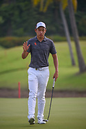 Cheng JIN (CHN) after sinking his birdie putt on 2 during Rd 3 of the Asia-Pacific Amateur Championship, Sentosa Golf Club, Singapore. 10/6/2018.<br /> Picture: Golffile   Ken Murray<br /> <br /> <br /> All photo usage must carry mandatory copyright credit (© Golffile   Ken Murray)