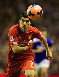 05.01.2014, Anfield, Liverpool, ENG, FA Cup, FC Liverpool vs FC Oldham Athletic, 3. Runde, im Bild Liverpool's Luis Suarez, action against Oldham Athletic // during the English FA Cup 3rd round match between Liverpool FC and Oldham Athletic FC at the Anfield in Liverpool, Great Britain on 2014/01/05. EXPA Pictures © 2014, PhotoCredit: EXPA/ Propagandaphoto/ David Rawcliffe<br /> <br /> *****ATTENTION - OUT of ENG, GBR*****