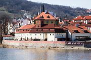 Prague, Czech Republic The Vltava River and the Kafka Museum