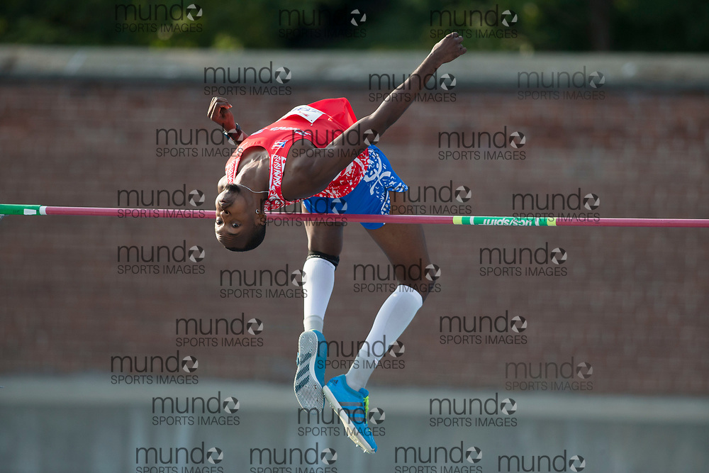 Toronto, ON -- 11 August 2018: Luis Castro (Puerto Rico), high jump at the 2018 North America, Central America, and Caribbean Athletics Association (NACAC) Track and Field Championships held at Varsity Stadium, Toronto, Canada. (Photo by Sean Burges / Mundo Sport Images).