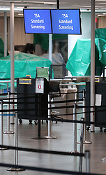 The security screening stations are empty as Orlando International Airport is closed on Tuesday, September 3, 2019 ahead of Hurricane Dorian. Photo by Stephen M. Dowell/Orlando Sentinel/TNS/ABACAPRESS.COM