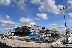 EXCLUSIVE: David Beckham's Inter Miami stadium looks far from finished even with the first game against the LA Galaxy scheduled for March 14. The pink and black accented Lockhart Stadium site was still filled with construction workers and debris and was not nearly complete as the opening day looms. 08 Jan 2020 Pictured: Inter Miami Stadium General View Construction. Photo credit: MEGA TheMegaAgency.com +1 888 505 6342