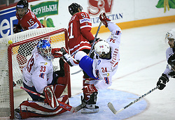 Goalkeeper Pal Grotnes and Henrik Odegaard (24) of Norway and at play-off round quarterfinals ice-hockey game Norway vs Canada at IIHF WC 2008 in Halifax,  on May 14, 2008 in Metro Center, Halifax, Nova Scotia,Canada. (Photo by Vid Ponikvar / Sportal Images)