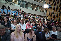 © Licensed to London News Pictures . 21/04/2015 . Manchester , UK . The audience at the venue for a speech and Q&A by Ed Miliband at Manchester Metropolitan University's Brooks Building . Photo credit : Joel Goodman/LNP