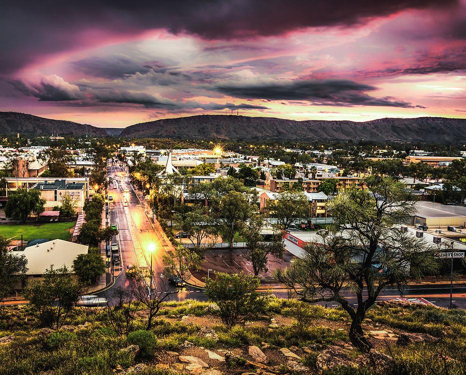 Early spring rain in Alice Springs