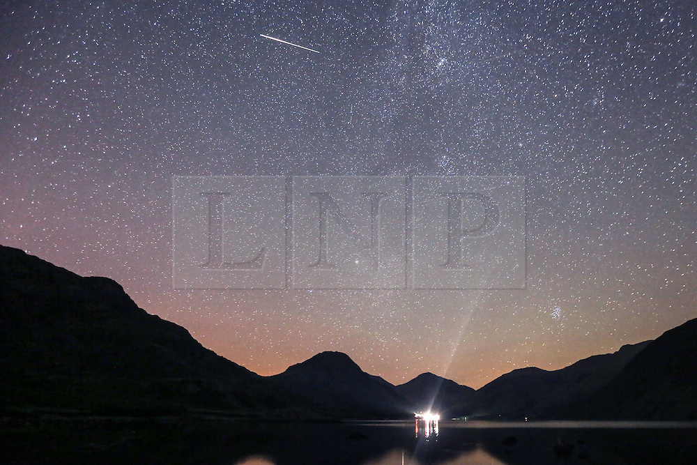 © Licensed to London News Pictures. 13/08/2015. Wasdale Head, UK. Picture shows last nights Meteor shower over Wast water in Wasdale Head, Cumbria.<br /> Photo credit : Andrew McCaren/LNP