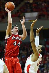 04 February 2012:  Jordan Prosser shoots over Jackie Carmichael during an NCAA Missouri Valley Conference mens basketball game where the Bradley Braves lost to the Illinois State Redbirds 78 - 48 in Redbird Arena, Normal IL