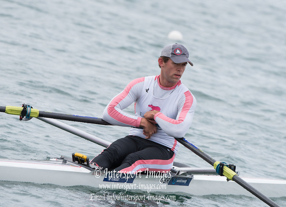 Caversham, England,  Jack BEAUMONT, returning to the boating dock after his semi final A/B at the GBRowing Team Trials. Sunday, 19.04.2015. [Mandatory Credit. Peter SPURRIER/Intersport Images]