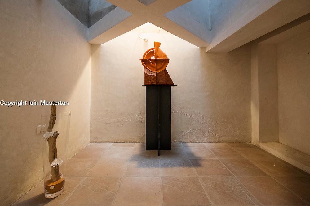 Art works by Toma Gabor on display at Alserkal Cultural Foundation gallery in Bastakiya old district of Dubai United Arab Emirates