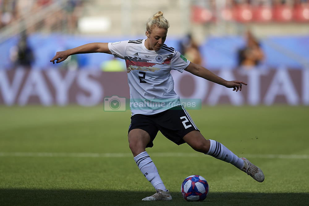 June 29, 2019 - Rennes, France - Carolin Simon (Olympique Lyon) of Germany shooting to goal during the 2019 FIFA Women's World Cup France Quarter Final match between Germany and Sweden at Roazhon Park on June 29, 2019 in Rennes, France. (Credit Image: © Jose Breton/NurPhoto via ZUMA Press)