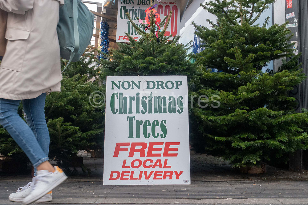 """A sign with the words 'Non Drop Christmas Trees Free Local Delivery' on display at Brixton Market on the 11th December 2019 in South London in the United Kingdom. Trees are considered """"non-drop"""" if they retain their needles for significantly longer than traditional varieties."""