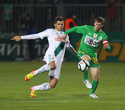 26.11.2011, Pappelstadion, Mattersburg, AUT, 1. FBL, SV Mattersburg vs SK Rapid, im Bild Michael Moerz, (SV Mattersburg, #5) vs Michael Schimpelsberger, (SK Rapid Wien, #36) during the Austrian Bundesliga Match, SV Mattersburg against SK Rapid, Stadium, Pappelstadion Mattersburg, Austria on 2011-11-26, EXPA Pictures © 2011, PhotoCredit: EXPA/ S. Woldron