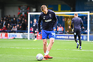 AFC Wimbledon Forward Joe Pigott (39) warms-up ahead of the EFL Sky Bet League 1 match between AFC Wimbledon and Wycombe Wanderers at the Cherry Red Records Stadium, Kingston, England on 27 April 2019.