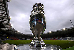 Handout photo provided by JSHPIX of the UEFA Euro 2020 Trophy at Hampden Park Stadium. Picture date: Thursday June 3, 2021.