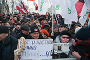 Moscow, Russia, 05/03/2012..Some 20,000 people protest in and around Pushkin Square against Vladimir Putin's victory in the Russian presidential election.