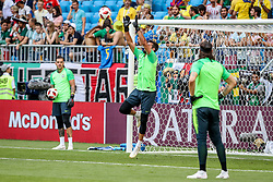 July 2, 2018 - Samara, Vazio, Russia - Alisson Ramses Becker during warm-up before the game between Brazil and Mexico valid for the octaves of finals of the World Cup of 2018, held in Arena Samara, Russia  (Credit Image: © Thiago Bernardes/Pacific Press via ZUMA Wire)