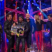 NLD/Amsterdam/20180914 - Bekendm aking winnaar The Voice Sr. 2018, Gerard Joling, winnaar Jimi Bellmartin, Gordon Heuckeroth, Wendy van Dijk en Martijn Krabbe