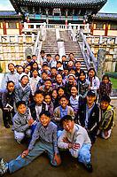 Korean school kids, Pulguksa Temple, Kyongju, South Korea