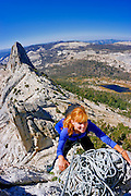 Climber on the classic Matthes Crest traverse, Yosemite National Park, California USA