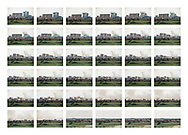 'Boom! (1996-2014), 2014'  from the project 'The Fall and Rise of Ravenscraig' by photographer Colin McPherson.<br /> <br /> Image shows 32 photographs of the demolition of the former Ravenscraig steelworks in July 1996 and four contemporary images of the site today, all taken from near Larkhall, Lanarkshire.<br /> <br /> This project, photographed in 2014, looks at the topography of the post-industrial landscape at Ravenscraig, the site until its closure in 1992 of the largest hot strip steel mill in western Europe. In its current state, Ravenscraig is one of the largest derelict sites in Europe measuring over 1,125 acres (4.55 km2) in size, an area equivalent to 700 football pitches or twice the size of Monaco. It is currently being developed with a mix of housing, retail and the home of South Lanarkshire College and the Ravenscraig Regional Sports Facility.