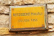 The brass plate on the entrance door of the burgundy negociant and wine producer Remoissenet Pere et Fils Grands Vins, Maison Remoissenet, Beaune Côte Cote d Or Bourgogne Burgundy Burgundian France French Europe European