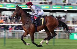 Msayyan ridden by Frankie Dettori in the bet365 Feilden Stakes during day one of The Bet365 Craven Meeting at Newmarket Racecourse, Newmarket. PRESS ASSOCIATION Photo. Picture date: Tuesday April 17, 2018. See PA story RACING Newmarket. Photo credit should read: Nigel French/PA Wire.