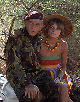 Welsh actor Richard Burton and wife Suzy seen on the set of the film 'Wild Geese' being filmed in South Africa in 1977.Photographed by Terry Fincher