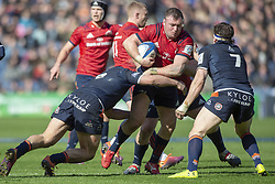 March 30, 2019 - Edinburgh, Scotland, United Kingdom - Dave Kilcoyne of Munster tackled by Stuart McInally and Hamish Watson of Edinburgh during the Heineken Champions Cup Quarter Final match between Edinburgh Rugby and Munster Rugby at Murrayfield Stadium in Edinburgh, Scotland, United Kingdom on March 30, 2019  (Credit Image: © Andrew Surma/NurPhoto via ZUMA Press)