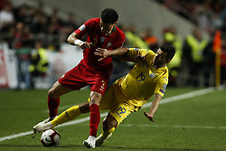 March 22, 2019 - Lisbon, Portugal - Pepe of Portugal (L) vies for the ball with Junior Moraes of Ukraine (R)  during the Euro 2020 qualifying match football match between Portugal vs Ukraine, in Lisbon, on March 22, 2019. (Credit Image: © Carlos Palma/NurPhoto via ZUMA Press)