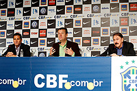 20100511: RIO DE JANEIRO, BRAZIL - Brazil's National Team coach Carlos Dunga announces Brazilian team list for 2010 World Cup. In picture: Carlos Dunga (head coach, C) and Jorginho (assistant coach, L). PHOTO: CITYFILES