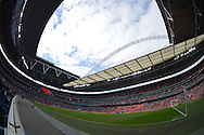 a general view of inside Wembley Stadium before k/o. The FA Cup, semi final match, Aston Villa v Liverpool at Wembley Stadium in London on Sunday 19th April 2015.<br /> pic by John Patrick Fletcher, Andrew Orchard sports photography.