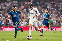 Real Madrid's player Alvaro Morata and Celta de Vigo's player Gustavo Daniel Cabral during a match of La Liga Santander at Santiago Bernabeu Stadium in Madrid. August 27, Spain. 2016. (ALTERPHOTOS/BorjaB.Hojas)