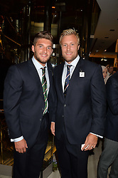 Left to right, rugby players OWEN WILLIAMS and JORDAN CRANE at the Watches of Switzerland Flagship Store Launch, 155 Regent Street, London on 17th July 2014.