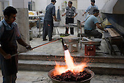 The kabob cooking area of the kitchen at the Talar Yazd Restaurant, Yazd, Iran. (sometimes spelled Kabab, Kebab, Kebob, Kebap).