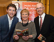 Finghin Collins, Artistic Director Music for Galway and   Anne O'Maille, Chair  and SAP's  Liam Ryan in  Hotel Meyrick for the launch of Music for Galway's new International Concert Season 'Aimez-vous Brahms?' opening on September 28th and running until May 18th including main concert series, Lunchtime series and Midwinter Festival.  . Photo: xposure.