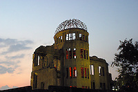 Hiroshima Peace Memorial, Atomic Bomb Dome, Hiroshima Japan, the only structure left standing near the bomb's hypocenter.