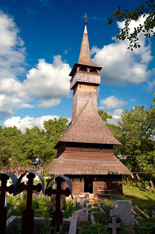 Wooden Church of the Orthodox Church on The Hill, Maramures, Northern Transylvania, Romania, UNESCO World Heritage Site .<br /> <br /> Visit our ROMANIA HISTORIC PLACXES PHOTO COLLECTIONS for more photos to download or buy as wall art prints https://funkystock.photoshelter.com/gallery-collection/Pictures-Images-of-Romania-Photos-of-Romanian-Historic-Landmark-Sites/C00001TITiQwAdS8<br /> .<br /> Visit our MEDIEVAL PHOTO COLLECTIONS for more   photos  to download or buy as prints https://funkystock.photoshelter.com/gallery-collection/Medieval-Middle-Ages-Historic-Places-Arcaeological-Sites-Pictures-Images-of/C0000B5ZA54_WD0s