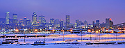 cold evening on montreal skyline, quebec, canada