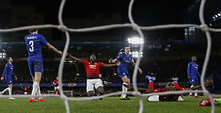 BRITAIN-LONDON-FOOTBALL-FA CUP-CHELSEA VS MAN UNITED.(190218) -- LONDON, Feb. 18, 2019  Manchester United's Paul Pogba (Front) celebrates after scoring during the FA Cup fifth round match between Chelsea and Manchester United in London, Britain on Feb. 18, 2019. Manchester United won 2-0. FOR EDITORIAL USE ONLY. NOT FOR SALE FOR MARKETING OR ADVERTISING CAMPAIGNS. NO USE WITH UNAUTHORIZED AUDIO, VIDEO, DATA, FIXTURE LISTS, CLUB/LEAGUE LOGOS OR ''LIVE'' SERVICES. ONLINE IN-MATCH USE LIMITED TO 45 IMAGES, NO VIDEO EMULATION. NO USE IN BETTING, GAMES OR SINGLE CLUB/LEAGUE/PLAYER PUBLICATIONS. (Credit Image: © Xinhua via ZUMA Wire)